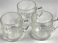 3 Vintage Dunkin' Donuts Clear Glass Coffee Mug Raised Lettering W/ Handle