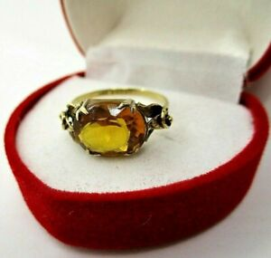 9ct 375 Yellow Gold 2.4Ct Citrine Solitaire Ring Size M Wear Repair or Scrap1.8g