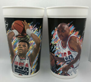 Lot Of 2 1992 USA Olympic Dream Team McDonalds Cups Charles Barkley Ewing