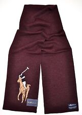 POLO RALPH LAUREN MEN Merino WOOL SCARF BIG PONY Burgundy WINE BUSINESS GIFT