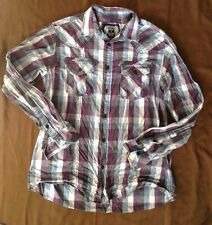 EIGHTY-EIGHT Men's Shirt M Western Button Down Plaid Long Sleeves purple blue