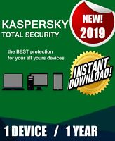 KASPERSKY TOTAL SECURITY 2019 1 PC DEVICE 1 YEAR  BEST ANTIVIRUS GENUINE CODE