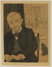 Portrait de Huysmans, eau-forte et aquatinte en couleurs, Eugène Delâtre, 1894