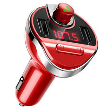 Red Car FM Transmitter Wireless Bluetooth MP3 Player Radio Adapter USB Charger