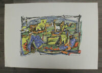 Marcel Janco Jewish Romanian Dada Color Lithograph Village 1943 Signed Art
