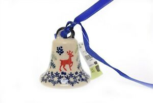 "Boleslawiec Polish Pottery Christmas Ornament Bell 3"" Reindeer"