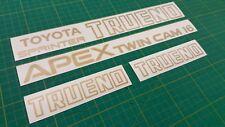 Toyota Sprinter Trueno APEX doppia camma 16 AE86 ORO Restauro Decalcomanie Adesivi