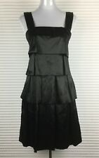 CUE Dress Size 8 Black Tiered Layers Shift Sleeveless Patch Front Style AU made