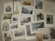 SET 20 ANTIQUE 1800S ENGRAVED LITHOGRAPH PRINT LOT INTERIOR DESIGN DECORATING NR