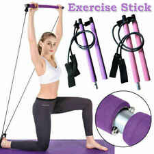 Portable Pilates Bar Kit Resistance Band Yoga Exercise Stick Body Fitness Tool