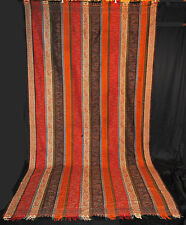"ANTIQUE PAISLEY SHAWL 1870 ROMAN STRIPE TIGHT WEAVE WOOL WOVEN 125"" x 66"""