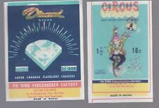 """Lot of Two Rare """"Printing Error"""" Circus and Diamond Firecracker Pack Labels"""