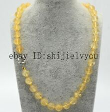 "Charming Real 8mm 100% Yellow Quartz Round Beads Gemstones Necklace 20""AAA"