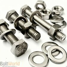 M8 A2 STAINLESS FULLY THREADED BOLTS SCREWS + FULL NUTS WASHERS HEXAGON HEX HEAD