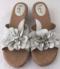 BORN Concept BOC Leather Sandals Slides Womens 9 White Flower Wedge Shoes