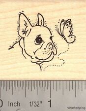 French bulldog with butterfly Rubber Stamp G14002 WM
