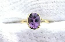 10Kt  REAL Yellow Gold 8x6 Oval Amethyst  Gemstone Gem Stone Ladies Fashion Ring