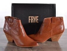 Frye Reina Bootie Leather Western Women's 9 MED Cognac 3479257 Cowboy Boots NEW