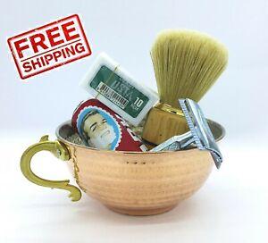 5 pcs Shaving Copper Bowl Set Cup Mug Arko Soap 10pc Derby Razor Yuma Holder