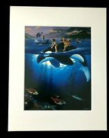 """Whale Rides"" by Jim Warren & Wyland 1994 11 x 14 Matted Art Print"