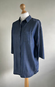 COS Lovely 100% Tencel Denim Shirt With Pocket & 3/4 Length Sleeves Size S-M 34