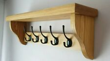 Coat Rack/Hanger With Shelf Handmade 5 Black Double Hooks Medium Oak Wax