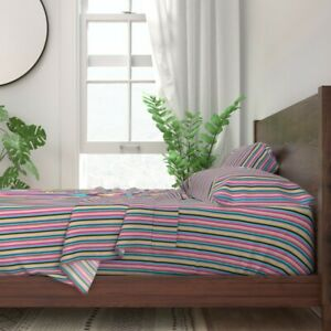 Colorful Stripes Pastel Lines Decor 100% Cotton Sateen Sheet Set by Roostery