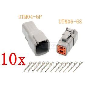 10x Deutsch DTM06-6S/DTM04-6P Sealed Waterproof Electrical Connector Plug Kits