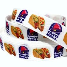"Grosgrain Ribbon 5/8"", 7/8"", 1.5"" & 3"" Food Tacos Fast Food Snacks Printed"