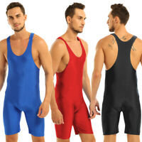 Mens Sleeveless Solid Wrestling Singlet Tight Vest Bodysuit Sportwear Top Romper