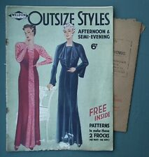 Outsize Styles vintage 1930s Weldon's mag original sewing pattern women's dress