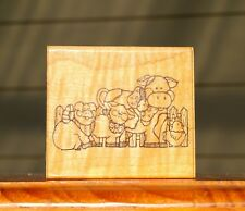 Barnyard Buddies Farm Animals Wood Mounted Rubber Stamp by D.O.T.S. # Q 185