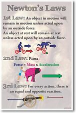 Newton's Laws - New Classroom Physics Science Poster