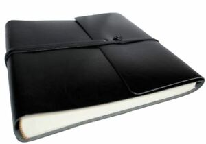 Pachino Recycled Leather Photo Album, Medium Jet Black - Handmade in Italy
