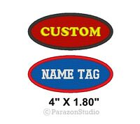 "Custom Embroidered Name Tag Motorcycle Biker MC Sew on Patch 4"" X 1.80"" Oval"