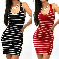 Women Sexy Sleeveless Striped Bodycon Mini Dress Casual Evening Party Sundress