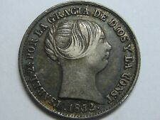 1852 BARCELONA 1 REAL SPAIN ISABEL II PLATA SPANISH PLATA SILVER ,.
