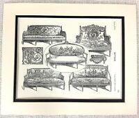1903 Antik Aufdruck Französisch Möbel Design Louis XVI Sofa Couch Salon Stühle
