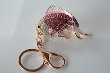 Bejewelled Carp Dragon Fish Key Chain Handbag Hanging Charm Feng Shui Protection