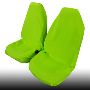 New Arrival Green Polyester Throw Over Slip On Car Seat Cover 2PCS