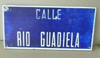 Placa cartel Nombre de Calle Rio Guadiela chapa hierro 49 x 23 cm.
