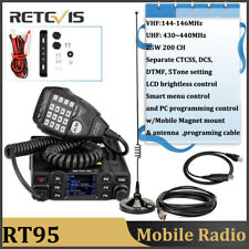 Retevis RT95 200CH 25W Dual Band TFT LCD Display Car Radio+Antenna+USB cable New