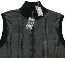 Men's CREMIEUX Black Gray Cotton Cashmere Zip Sweater Vest XXL 2XL NWT NEW WoW!