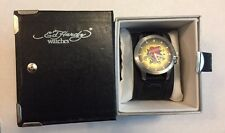Ed Hardy GL-LK Love Kills Slowly Leather Stainless Steel Men's Watch NEW