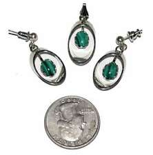 Malachite Pendant Earrings Silver Plate Hand Crafted Set