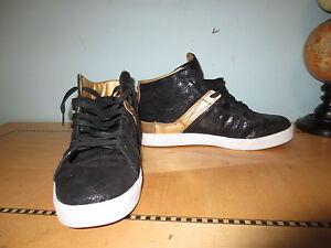 Supra sneakers gold w caviar black sz US 10 high top shoes