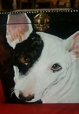 Custom hand painted PIT bull portrait memorial Wood box Pet URN for dogs urns