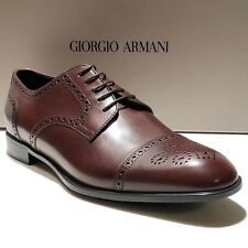 Giorgio Armani Brown Leather Brogue Dress Derby 10.5 Oxford Men's Formal Shoes