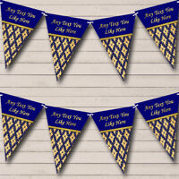 Party Banner Bunting Pretty Navy Blue And Gold Vintage Personalised Birthday