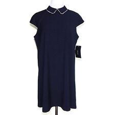 ZARA Navy Blue White Micro Polka Dot Print Peter Pan Collar Shift Dress Medium M
